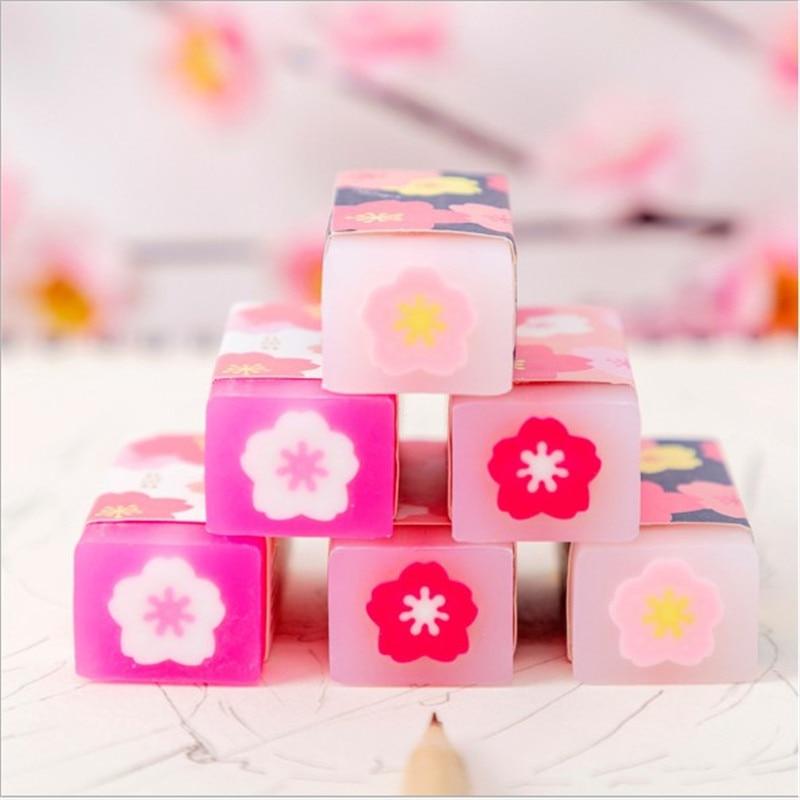 1Pcs Cute Kawaii Sakura Sandwich Crystal Eraser Rubber Student Creative Office School Student Supplies Stationery