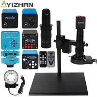 HDMI VGA 16MP HD USB TF Big Workbench Stand Monocular Microscope Digital Camera Lens LED Light Fine Repair Phone Soldering