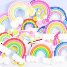 10 pcs rainbowl dos desenhos animados plana volta de borracha macia cabochon flatbacks scrapbooking artesanato diy arcos de cabelo acessórios decoração do telefone