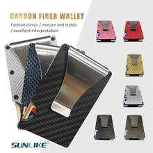 SULIKE new Fashion Slim Carbon Fiber Credit Card Holder RFID Non-scan Metal Wallet Purse Male Carteira Masculina Billetera