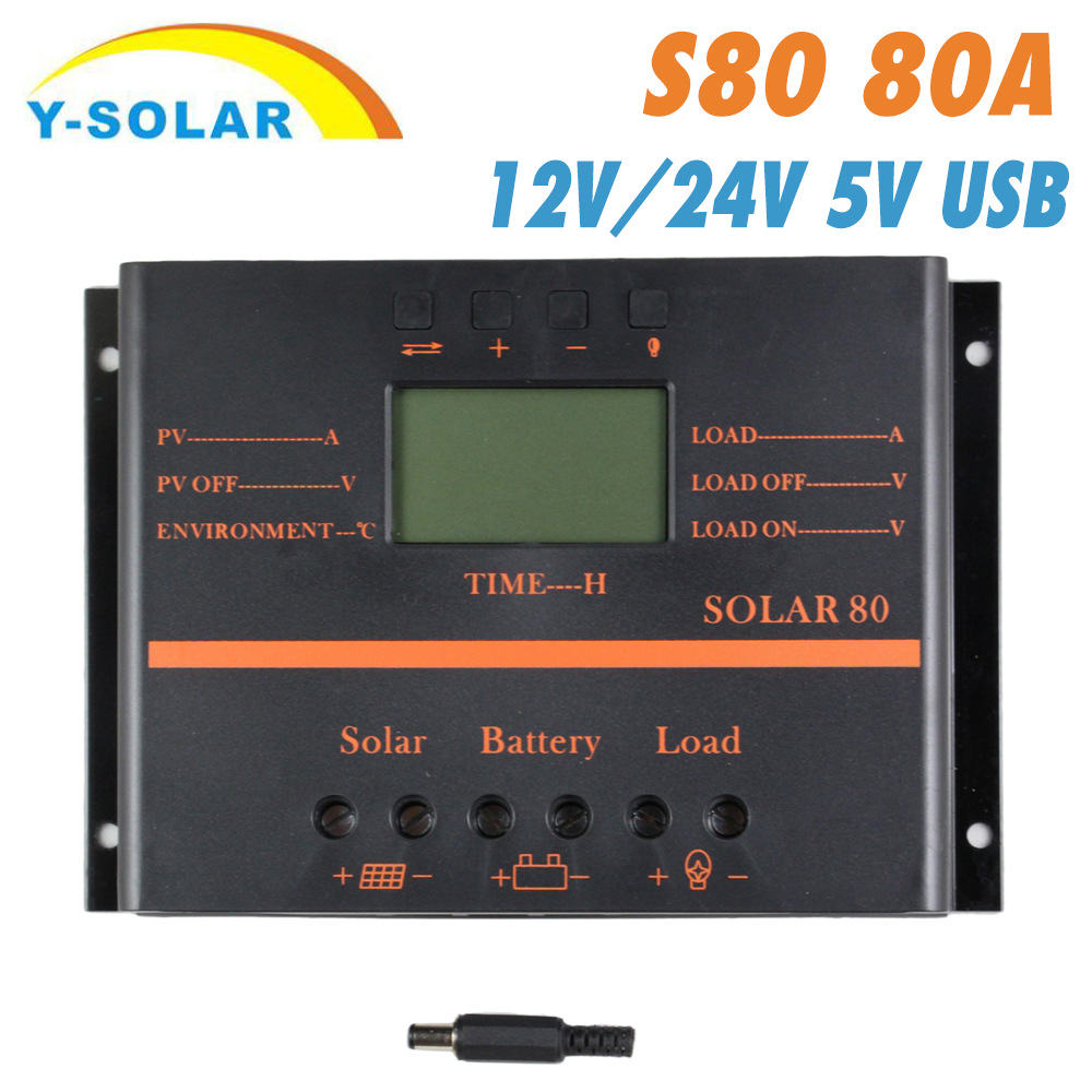 Solar Controller SOLAR80 12 V/24 V 80A Solar Charger And Discharger Controller LCD Display