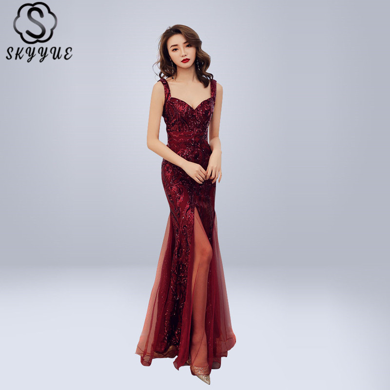 Skyyue   Evening     Dress   Sexy Sweetheart Robe De Soiree Sleeveless Women Party   Dresses   2019 Blackless Sequin Split Formal Gowns C304