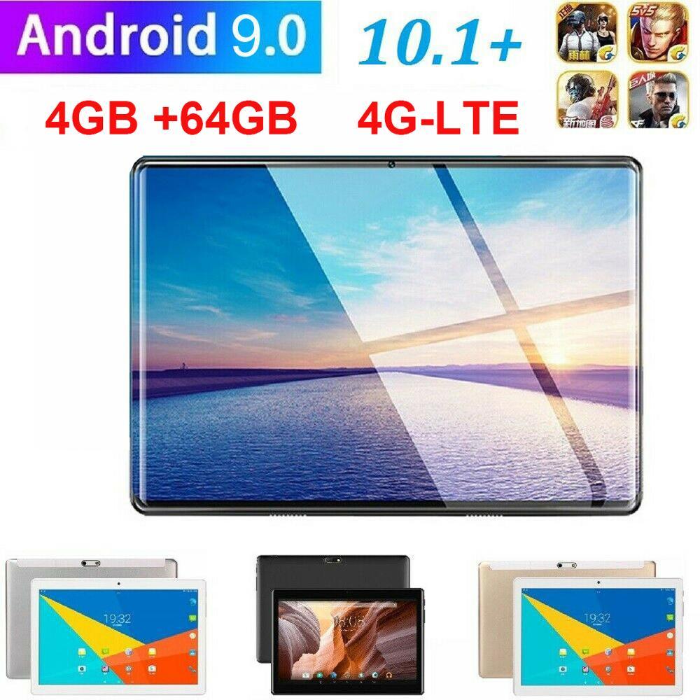 Планшет с поддержкой 4G LTE, Wi-Fi, Android 9,0, планшет 2.5D, HD-экран 10,1 дюйма, Wi-Fi, металлический планшетный ПК с двойной камерой и десятиядерным процесс...
