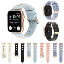 Rose Gold Metal Rivet Watch band For Apple watch band 42/38mm Leather Sport Strap For iWatch series 4 3 2 1 44/42mm Accessories apple watch s2 sport 38mm gold al blue mq132ru a