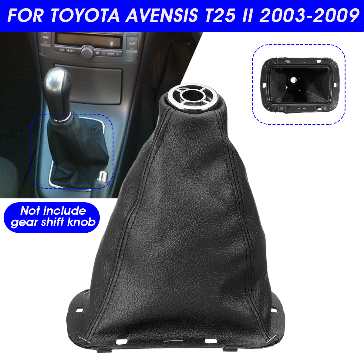 PU Leather Car Gear Gaiter Boot Cover Gear Shift Gaitor Boot For Toyota Avensis T25 MK2 II 2003-2009