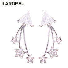Fashion Charm AAA Cubic Zircon Five-Pointed Star Pendant Earrings For Women Wedding Party Jewelry Gift fashion new arrival crystal star stud earrings for women girls cz zircon silver color five pointed star earrings party jewelry