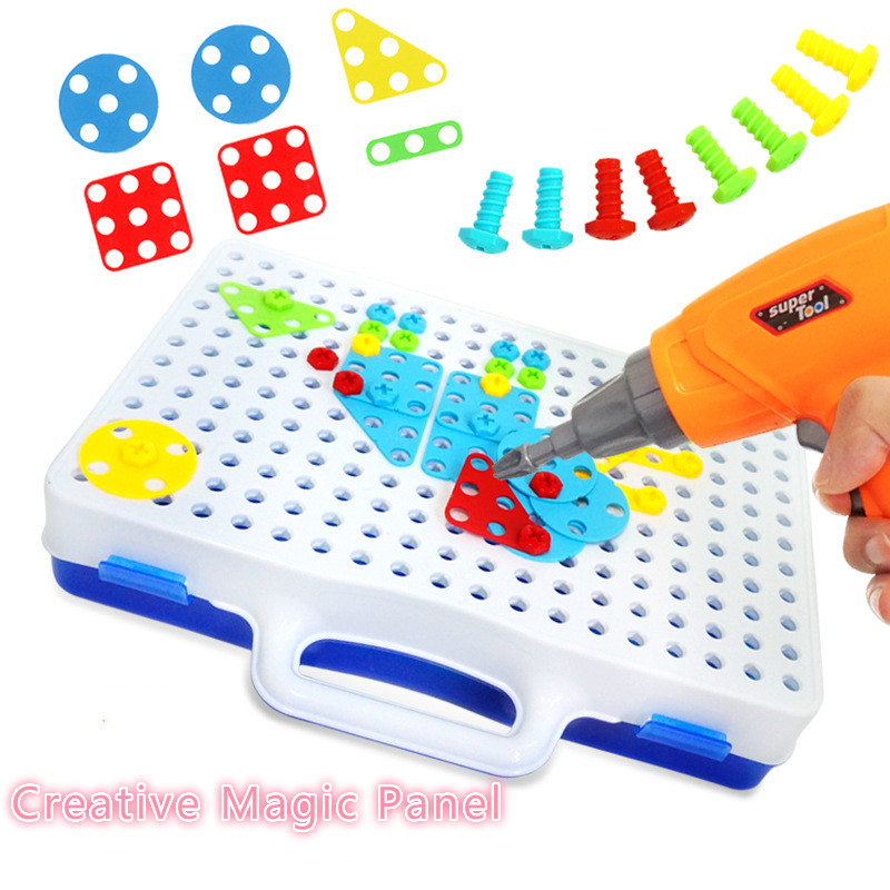 Baby 3D Toys Education DIY Electric Drill Creative Magic Panel Building Block Model Set Game Children's Intellectual Toy Tools