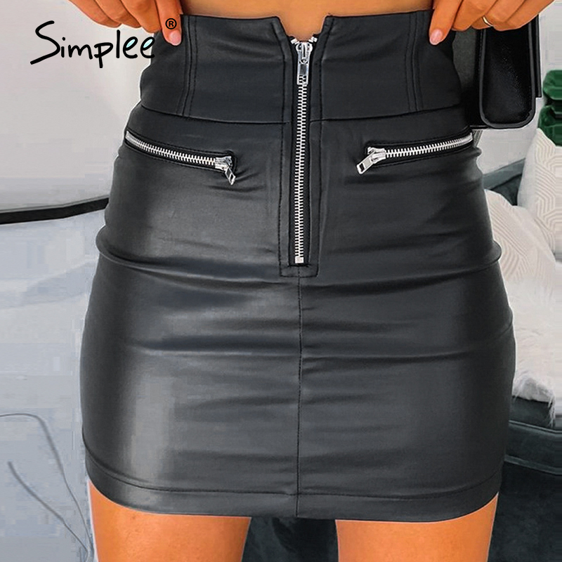 Simplee Sexy Plus Size High Waist Leather Skirt Women Black Party Club Female Short Mini Skirt Casual Streetwear Ladies Skirt