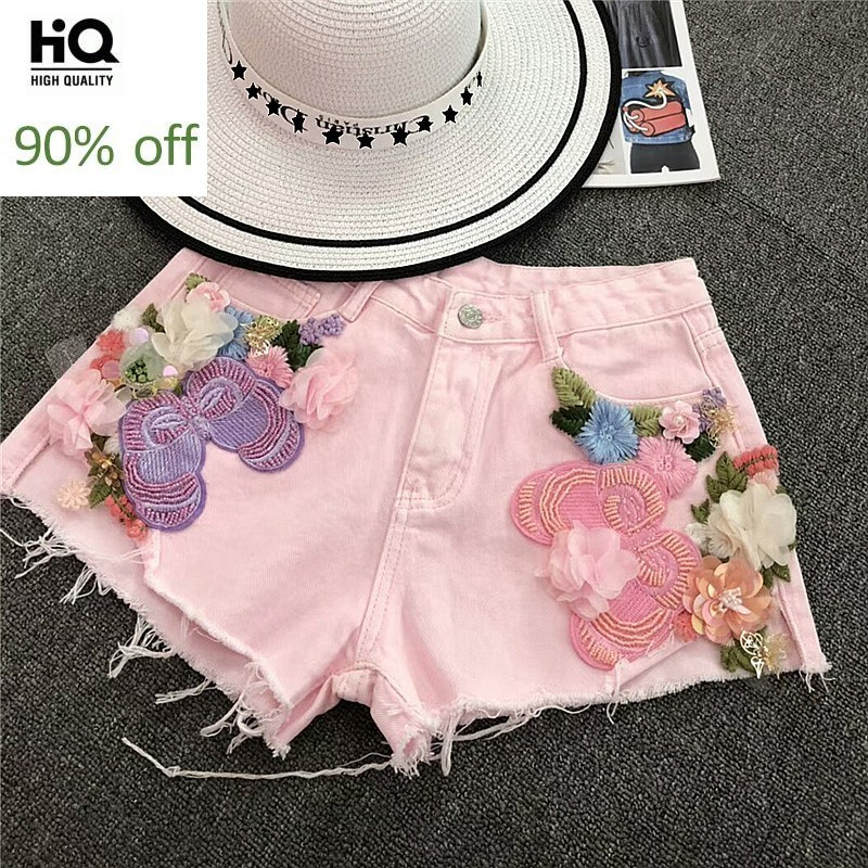 Hot Fashion Summer 2020 Women Shorts Embroidery Flower Sweet Woman Jeans Casaul Zipper Personalized Harajuku Denim Trouser Femme