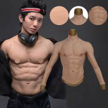 Flexible Silicone Muscle Fake Chest Male Muscle Fullsuit Artificial Silicone Chest Male Summer Wear Men Shaper Cosplay Costumes