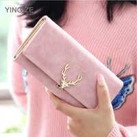 Cute Deer Women Wallet Long Leather Purse Girl Folding Wallets Clutch Pu Card Holder Ladies Purses Retro Portfel Damski