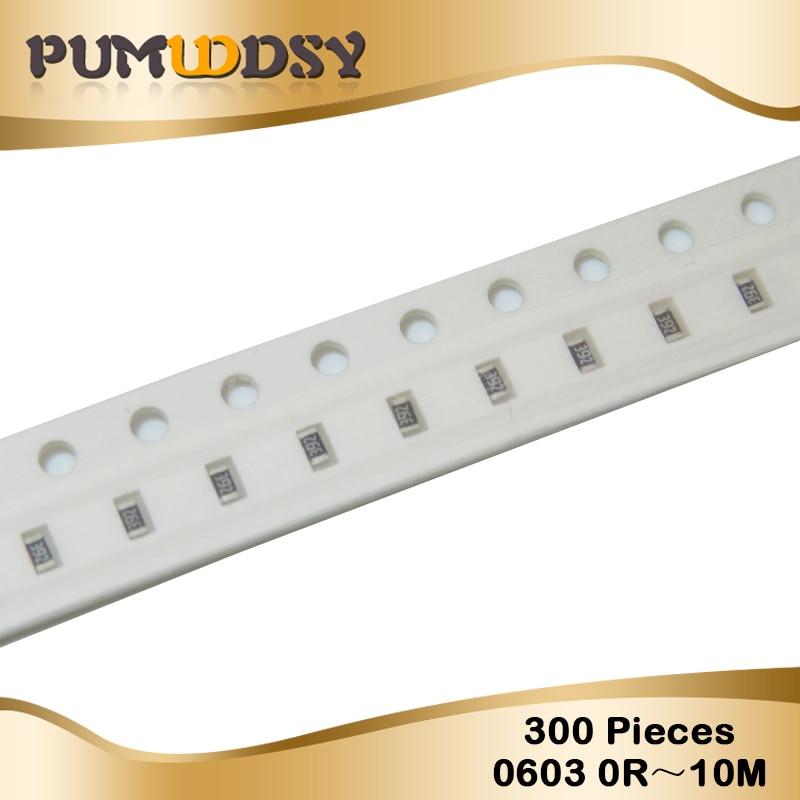 300pcs 0603 SMD 1/8W Chip Resistor Resistors 0 Ohm ~ 10M Ohm 0R 1K 4.7K 4K7 10K 100K