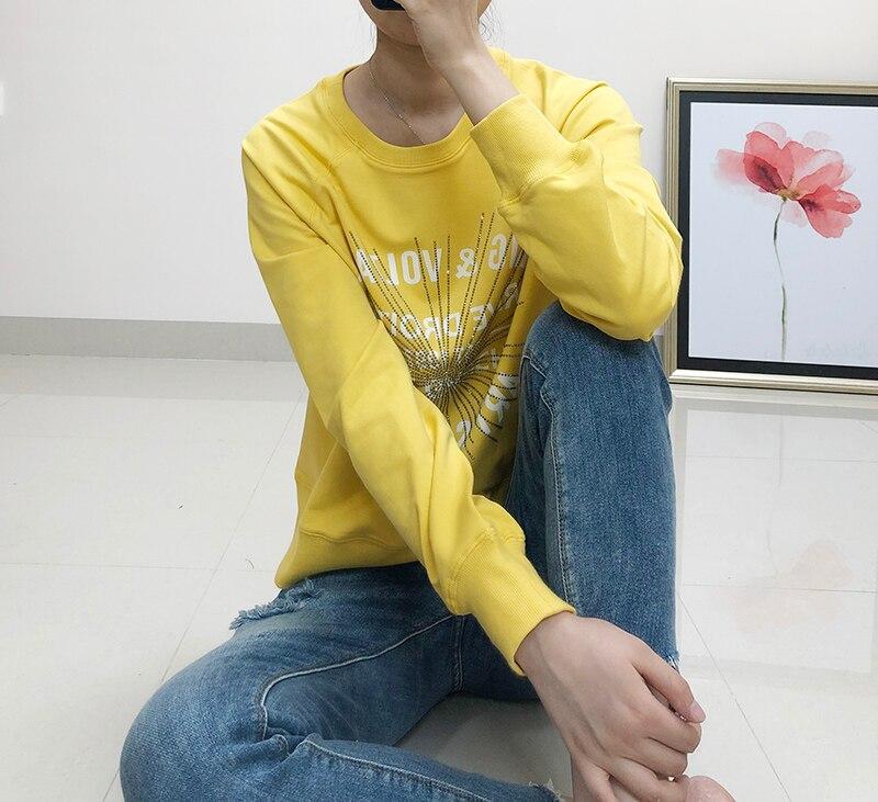 Women Hoodie Autumn/ Winter New Yellow Letter Printing Womens Clothing Hot Drilling Cotton Women Sweatshirt