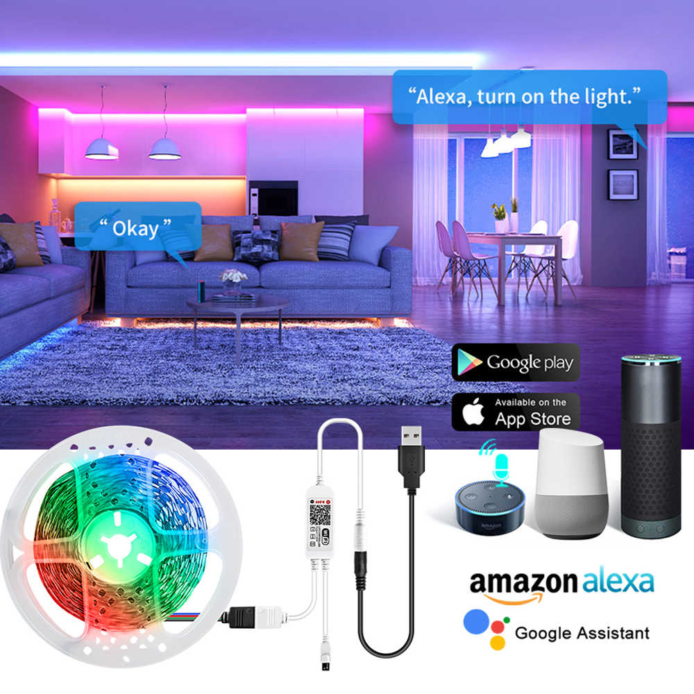 WiFi Smart Hintergrundbeleuchtung LED Streifen Licht 5V USB Multi-farbige Bluetooth Intelligente LED-Diode Band Band Lampe Google hause echo dot