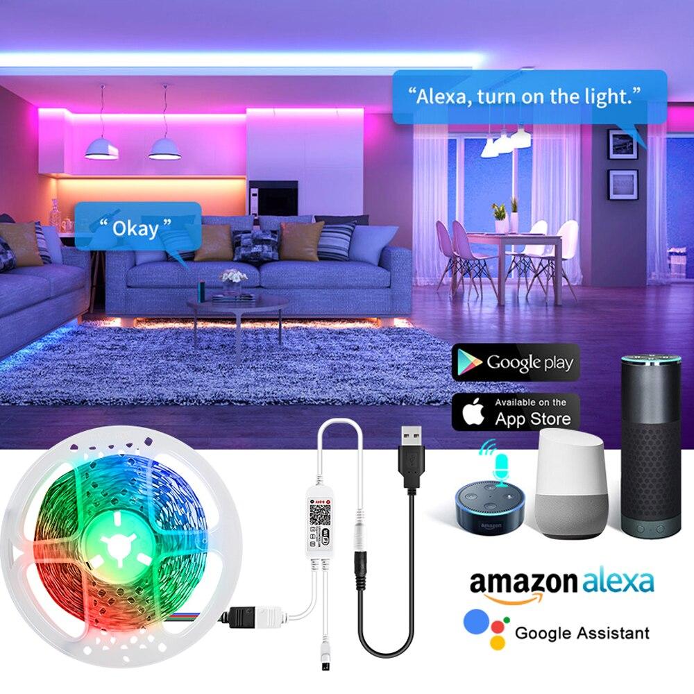WiFi Smart Backlight LED Strip Light 5V USB Multi-colored Bluetooth Intelligent LED Diode Ribbon Tape Lamp Google Home echo dot(China)