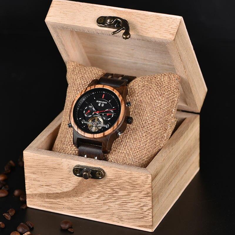 BOBO oiseau mécanique bois montre hommes femmes automatique montre bracelet en bois métal balancier horloge Relogio J Q27 - 6