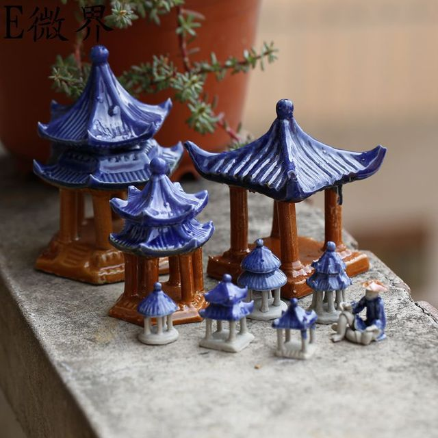 Bryophyte Micro-landscape Materials Jewelry China Wind Ceramics Hexagonal Aquarium 9cm High Home Decoration Accessories Modern 1