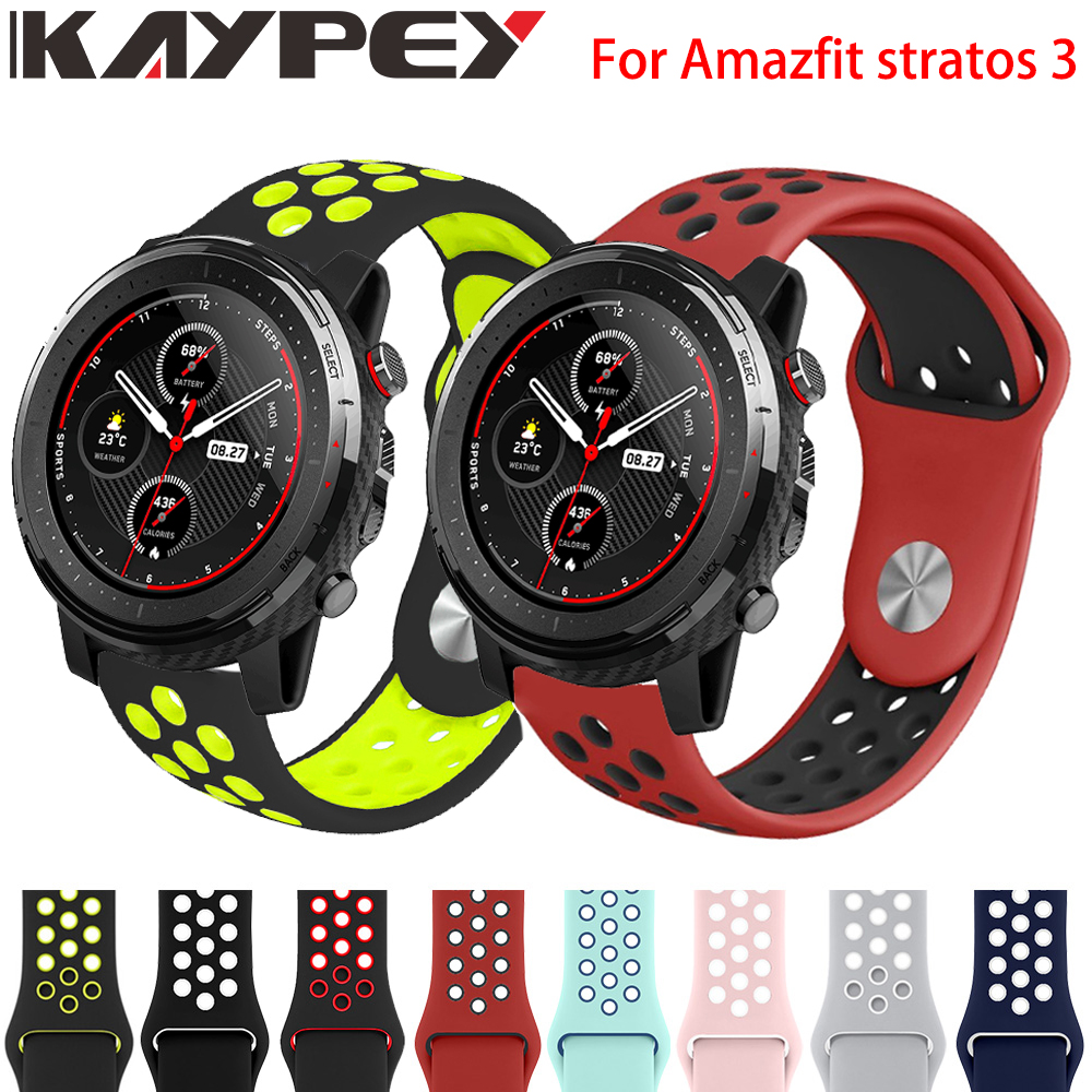 Double Color Silicone Wrist Strap For Xiaomi Huami Amazfit Stratos 3 2/2s Smart Watch Band For Xiaomi Amazfit GTR 47MM Bracelet