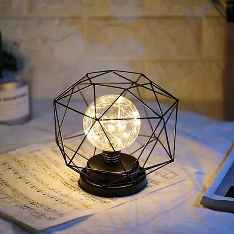 شكل هندسي LED لمبة مكتب الحديد المطاوع السرير ضوء الليل الزخرفية دعم دروبشيبينغ