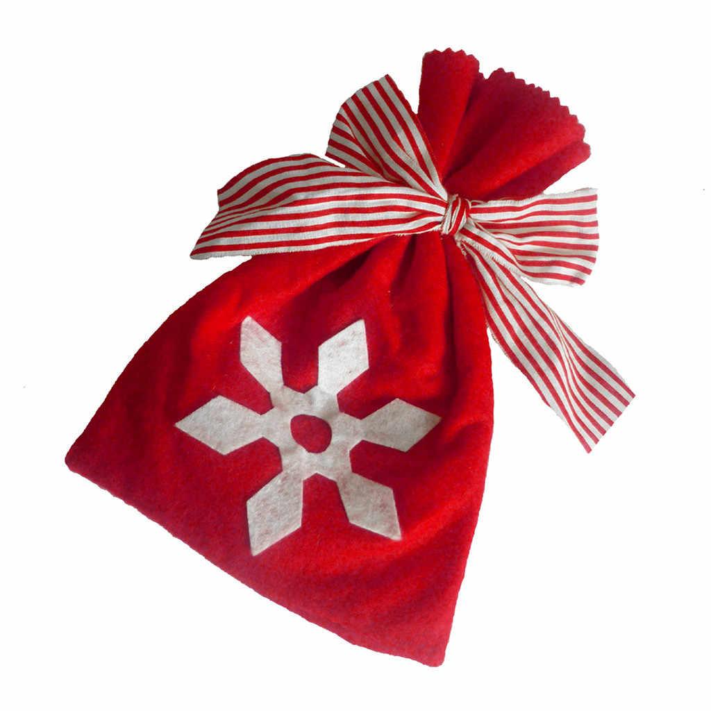 Рождественская Снежинка бант Подарочная сумка Магазин день рождения упаковка Рождество Санта Клаус Рождественская елка Рождественские конфеты сумки Navidad