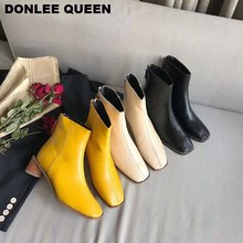 Brand Women Ankle Boots Med Heel 5cm Square Toe Booties Autumn Winter Shoes Women Zipper Boots Elegant Chelsea Boots Runway Short Boots For Women Casual Shoes Female Boots Party Shoes Women 2020 Footwear  zapatos mujer kickway 2018 slip on stretch band rubber boots winter ankle chelsea boots women shoes autumn square heel female footwear 34 42