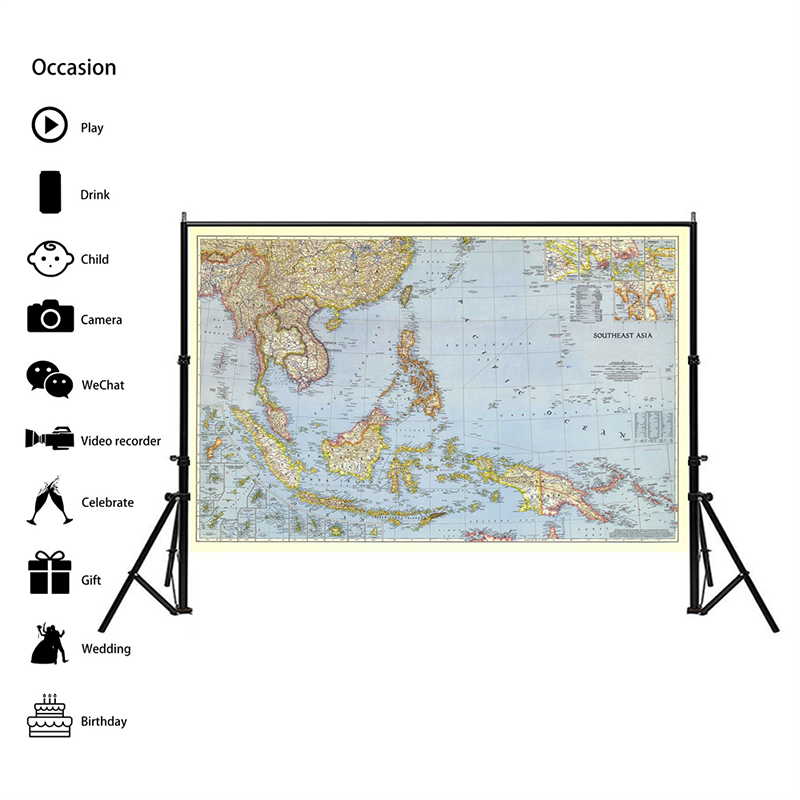 90*60cm World Map Detailed Southeast Asia 1944 Poster Wall Chart Retro Paper Kraft Paper Map Of World Office Supplies