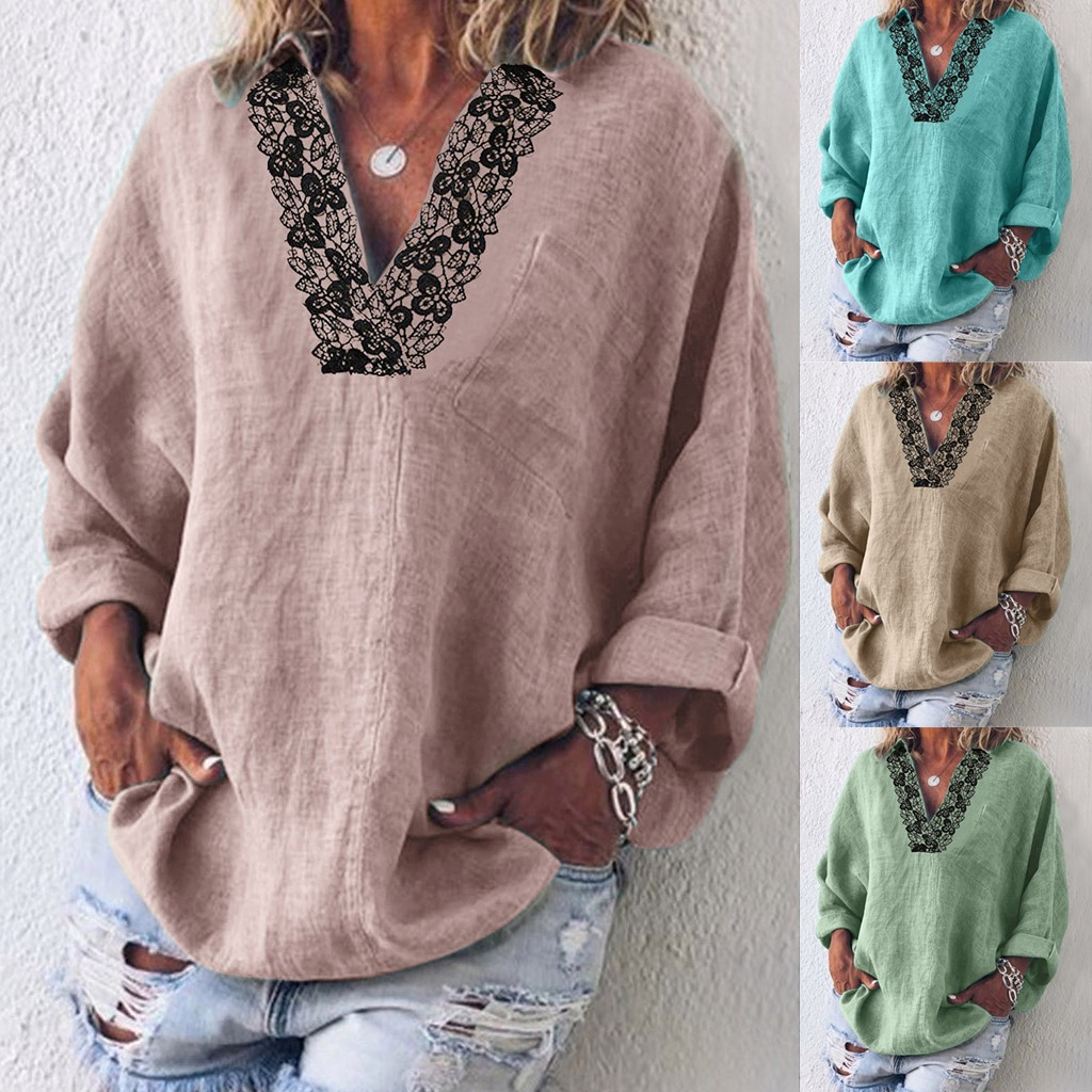 Autumn New Fashion Women's Long Sleeve Plus Size Solid Casual Lace V-Neck Blouse Shirt Tops Free Ship рубашка женская Z4