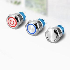 19mm metal basmalı anahtar güç düğmesi LED ışık su geçirmez düz dairesel kendinden kilitleme kendini sıfırlama düğmesi 3v 12v 24v 110v 220v