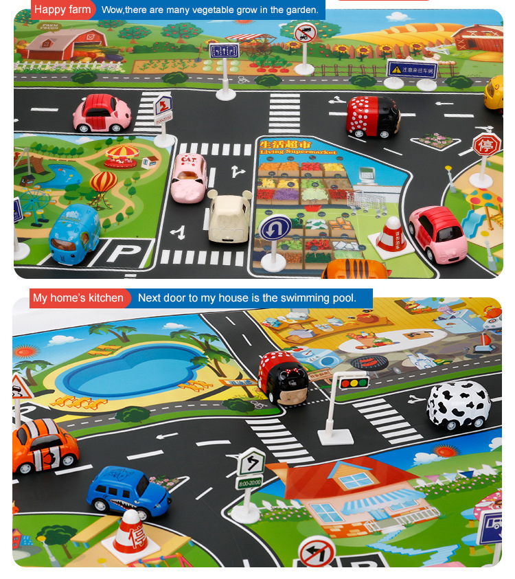 H7b9d28d232884186806d05039579b9d0Z Large City Traffic Car Park Mat Play Kids Rug Developing Baby Crawling Mat  Play Game Mat Toys Children Mat Playmat Puzzles ZXH