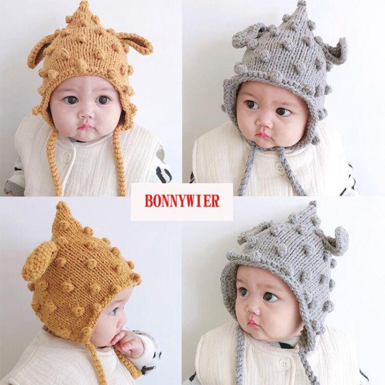 Winter Baby Kids Rabbit Bunny Ear Beanie Hat Infants Crochet Knitted Earflap Cap