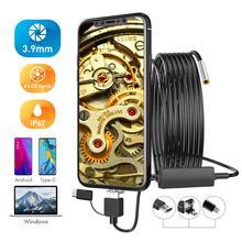 Usb tipo c endoscópio 3 em 1 3.9mm tubo borescope mini câmera de inspeção cobra ip67 à prova dip67 água 6 led android pc smartphone