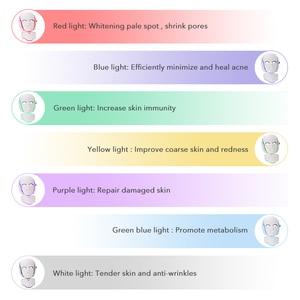 Image 2 - 7 colori Led maschera ringiovanimento della pelle fototerapia terapia della luce Anti invecchiamento maschera coreana bellezza macchina sbiancante collo strumento per la cura della pelle