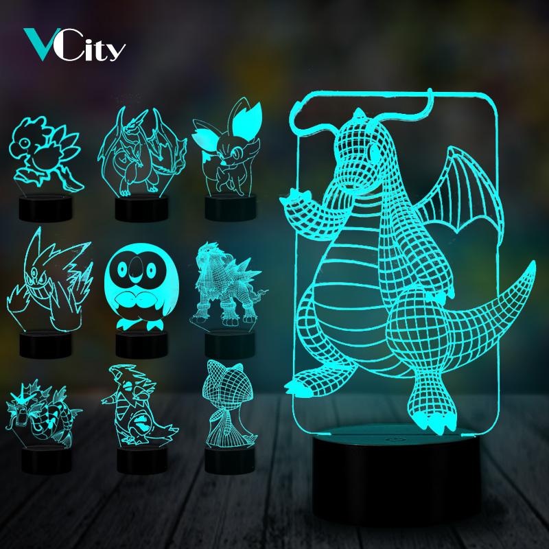 VCity Pokemon 3D Nightlight Fennekin Rowlet Entei Cartoon Lamp Lovely Gifts For Kids Fans Home Bedroom Atmosphere Lighting Decor