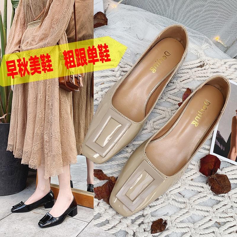 Ev ve Bahçe'ten Ayakkabı Rafları ve Organizatörleri'de Yüksek topuk ayakkabı kadın tıknaz topuk öğrenciler 3 santimetre tatlı çok yönlü düşük topuk sonbahar en yeni stil Online ünlü düşük Cu title=