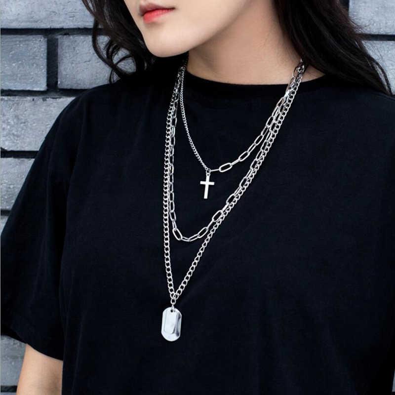 Gratis Fan Gothic Punk Logam Persegi Cross Kalung Hip Hop Rantai Panjang Multi Berlapis Kalung untuk Wanita Pria Perhiasan Hadiah