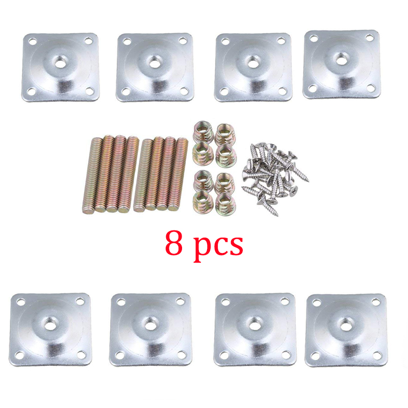 8Pcs  Iron 48x48mm Silver Color Sofa Table Chair Feet Attachment Plates Furniture Leg Mounting Plates With Hanger Bolts Adapters