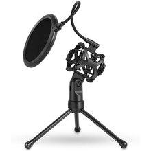 Tripod-Stand Microphone MIC-SHOCK-MOUNT-FILTER Desktop-Holder Broadcasting Recording