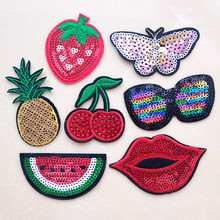 2019 Fashion patch Red carrot Cartoon Iron On Patches For Clothing Embroidery Stripe On Clothes Cute DIY Sequin Applique Badge(China)