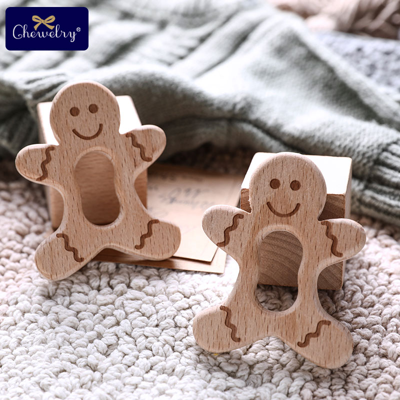 10pcs Baby Wooden Teether Pendant Beech Wood Biscuits Milk Baby Teething Rodent DIY Nursing Necklace Bracelet Pacifier Chain Toy