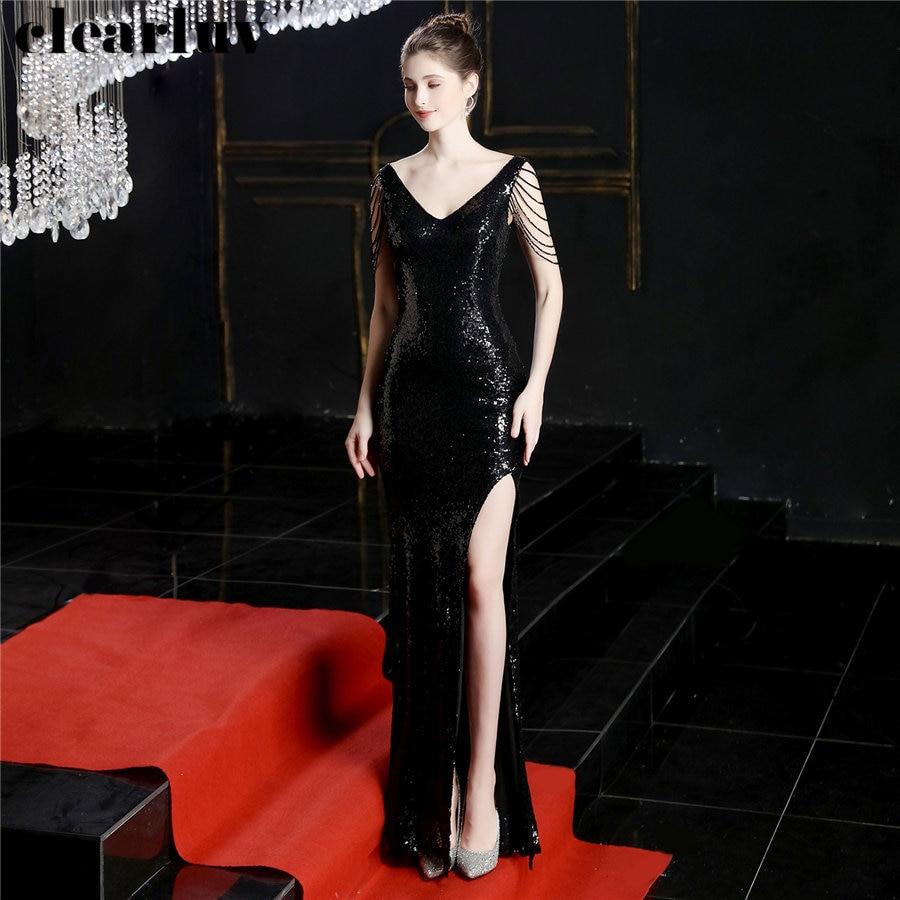 Formal Dress High Side Split Sleeveless Women Party Dress DX241-1 2019 Plus Size Robe De Soiree Elegant Sequins Evening Dresses