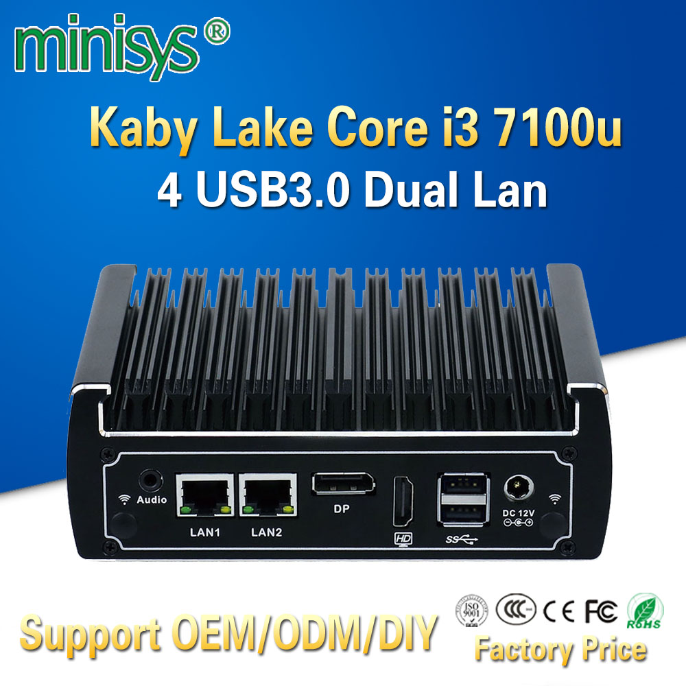 Minisys Fanless Mini Pc Intel Core I3 7100u CPU Dual Ethernet Lan Nano Itx Desktop Computer Support M.2 Port 6 USB3.0 2 COM 12V
