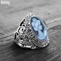 Винтажные овальные женские кольца Античные Серебро покрытые цветком Модные женские Кольца