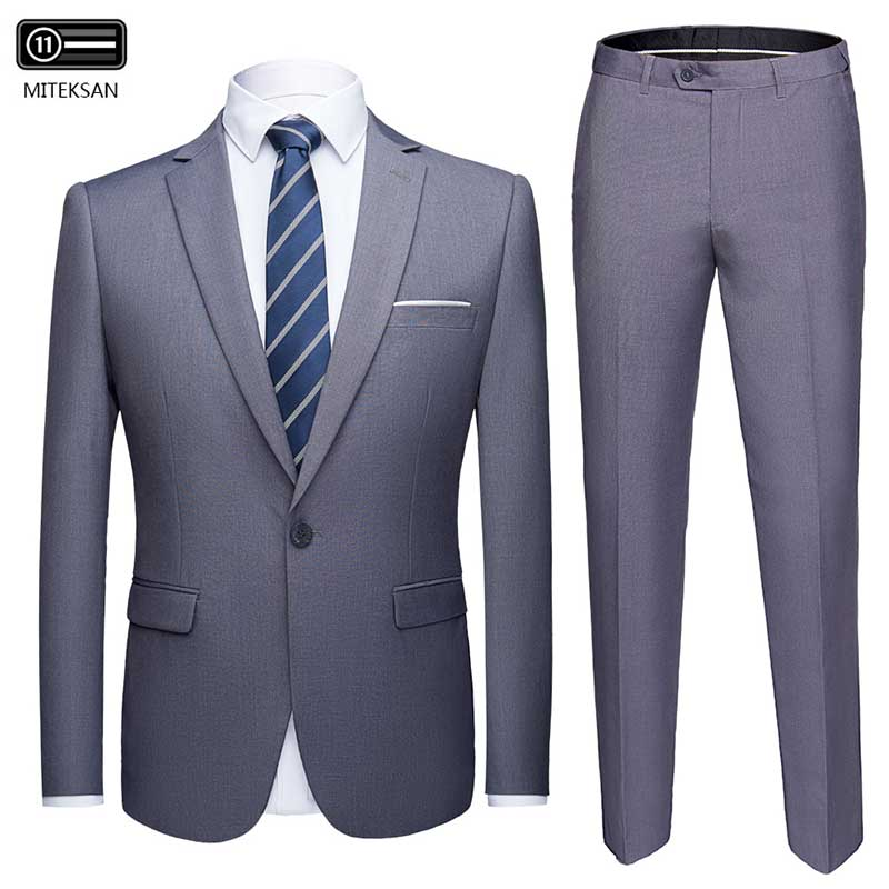 2019 Suits Men Set Formal Blazer+Pants Marriage Tuxedo 2-Piece Solid Terno Masculino Costume Homme Asian-Size Pull Suit Jersey