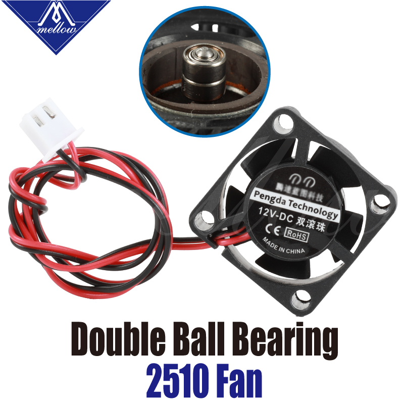 1pcs 12V/24V 2510 Fan 3D Printer Small Cooling Dual Ball Bear For Ultimaker 2 UM2 Crazy Mosquito Extruder Hotend