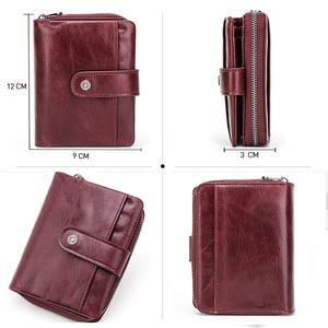 Image 5 - Genuine Leather Women Wallet Female Clutch Small Ladies Wallets Portomonee Rfid Luxury Brand Money Bag Magic Zipper Coin Purse