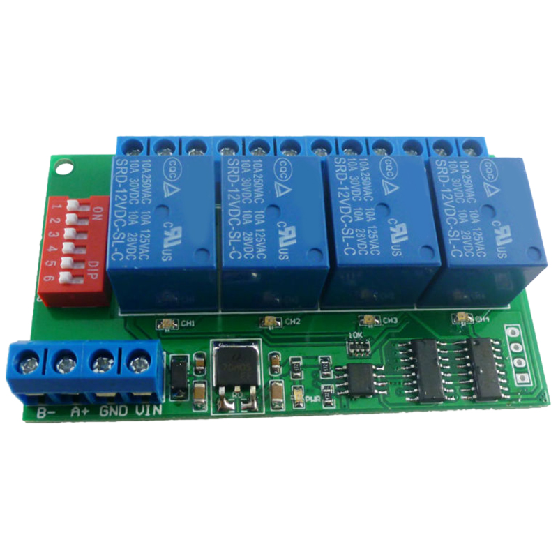 4 Channel DC 12V RS485 Relay Module Modbus RTU and AT Command Remote Control Switch for PLC PTZ Camera Security Monitoring|AC/DC Adapters| |  - title=