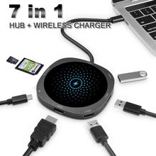 7 in 1 USB C HUB to USB 3.0 HUB HDMI Adapter QI Wi