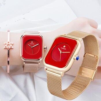 2021 WWOOR Women Watch Top Luxury Rose Gold China Red Ladies Watch Bracelet Fashion Minimalist Women's Wristwatch Zegarek Damski