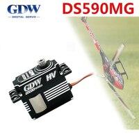 Frequência estreita média da placa de swashplate do helicóptero de gdw ds590mg toda a engrenagem de direção digital de alta tensão 450-500 do metal trava a cauda