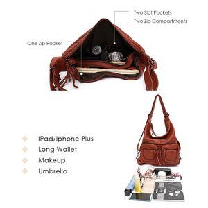 Image 3 - CEZIRA большой мягкий Повседневный женский рюкзак, функциональный школьный рюкзак для девочек, сумка из искусственной кожи, Дамский мессенджер с несколькими карманами и сумка через плечо